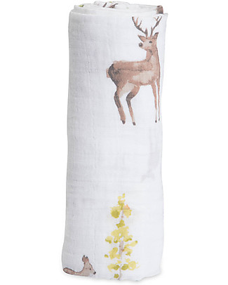 Little Unicorn Swaddle Blanket 120 x 120 cm, Oh Deer! - 100% Cotton Muslin Swaddles