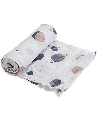 Little Unicorn Swaddle Blanket 120 x 120 cm, Planetary - 100% Cotton Muslin Swaddles