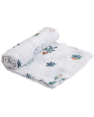 Little Unicorn Swaddle Blanket 120 x 120 cm, Prickle Pots - 100% Cotton Muslin Swaddles