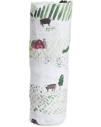 Little Unicorn Swaddle Blanket 120 x 120 cm, Rolling Hills - 100% Cotton Muslin Swaddles