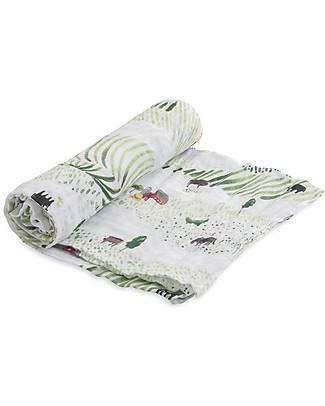 Little Unicorn Swaddle Blanket 120 x 120 cm, Rolling Hills - 100% Cotton Muslin Swaddles
