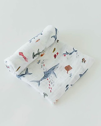 Little Unicorn Swaddle Blanket 120 x 120 cm, Shark - 100% Cotton Muslin Swaddles