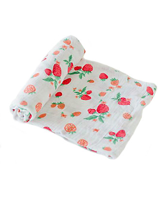 Little Unicorn Swaddle Blanket 120 x 120 cm, Strawberry - 100% Cotton Muslin Swaddles
