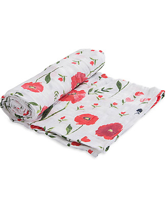 Little Unicorn Swaddle Blanket 120 x 120 cm, Summer Poppy - 100% Cotton Muslin Swaddles