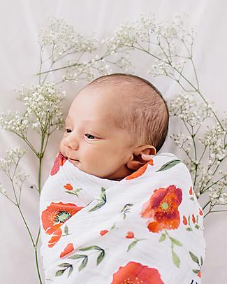 Little Unicorn Swaddle Blanket 120 x 120 cm, Summer Poppy - 100% Cotton Muslin Swaddles