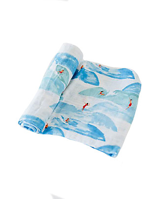 Little Unicorn Swaddle Blanket 120 x 120 cm, Surf - 100% Cotton Muslin Swaddles