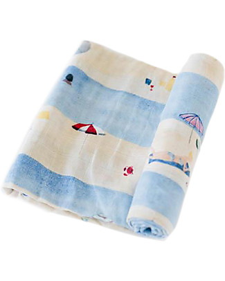 Little Unicorn Swaddle Blanket 120 x 120 cm, Tan Lines - 100% Cotton Muslin Swaddles