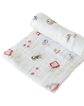 Little Unicorn Swaddle Blanket 120 x 120 cm, Toy Box - 100% Cotton Muslin Swaddles