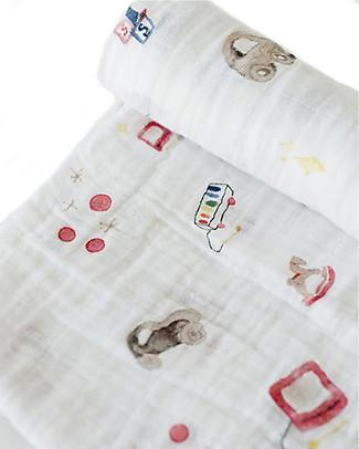 Little Unicorn Swaddle Blanket 120 x 120 cm, Toy Box - 100% Cotton Muslin Swaddles