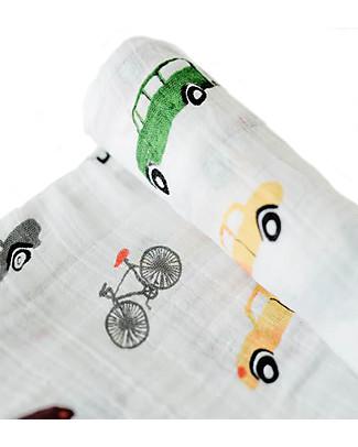 Little Unicorn Swaddle Blanket 120 x 120 cm, Traffic Jam - 100% Cotton Muslin Swaddles