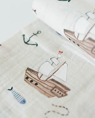 Little Unicorn Swaddle Blanket 120 x 120 cm, treasure Map - 100% Cotton Muslin Swaddles