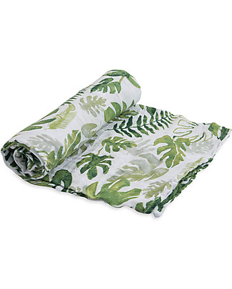 Little Unicorn Swaddle Blanket 120 x 120 cm,Tropical Leaf - 100% Cotton Muslin Swaddles