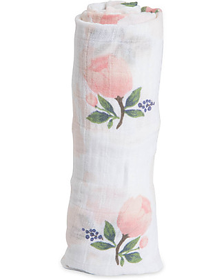 Little Unicorn Swaddle Blanket 120 x 120 cm, Watercolor Rose - 100% Cotton Muslin null