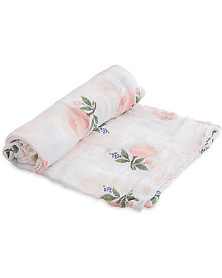 Little Unicorn Swaddle Blanket 120 x 120 cm, Watercolor Rose - 100% Cotton Muslin Swaddles
