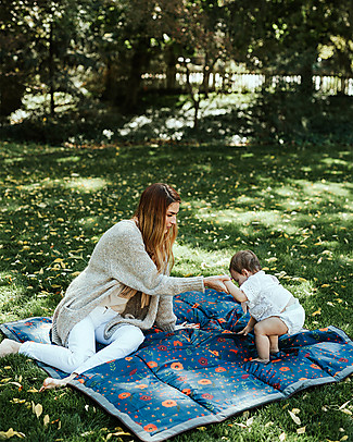 Little Unicorn Water-Resistant Outdoor Blanket 152 x 152 cm, Midnight Poppy – Easy Velcro closing  and shoulder strap! Stroller Accessories