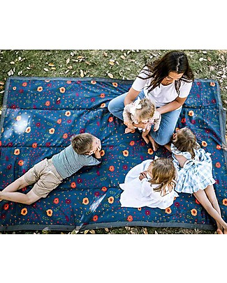 Little Unicorn Water-Resistant Outdoor Blanket XL 152 x 213 cm, Midnight Poppy – Easy Velcro closing  and shoulder strap! Stroller Accessories