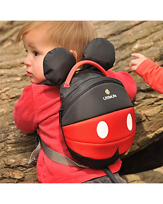 LittleLife Toddler Backpack 1-3 years, Mickey Mouse - Safety Reins Included Small Backpacks