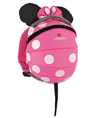 LittleLife Toddler Backpack 1-3 years, Pink Minnie Mouse - Safety Reins Included Small Backpacks