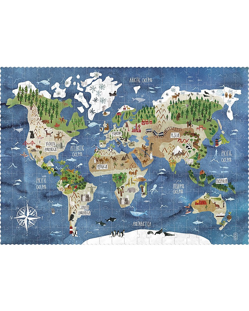 londji discover the world look find puzzle 200 pieces recycled