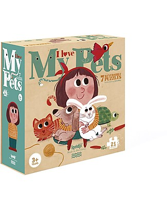 Londji I Love my Pets Puzzle - 21 pieces for 7 reversible puzzles - Recycled Cardboard! Puzzles