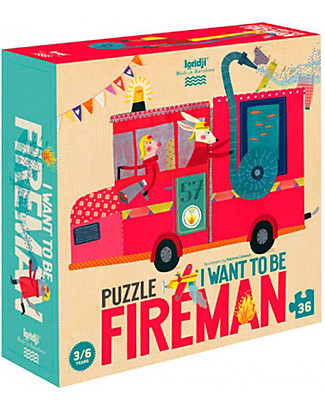 "Londji Illustrated Puzzle - ""I Want To Be... Fireman"" - 36 pieces! Puzzles"