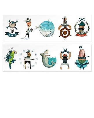 Londji Pirate Temporary Tattoos - 10 Large Multicoloured Tattoos Tattoos