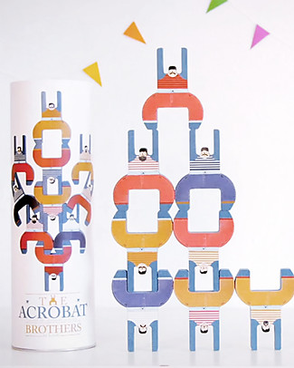 Londji The Acrobat Brothers - 10 Pieces - Recycled Wood Wooden Blocks & Construction Sets
