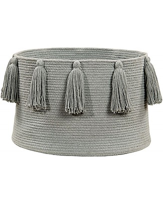 Lorena Canals Basket with Tassels, Light Grey - Handmade and washable Toy Storage Boxes