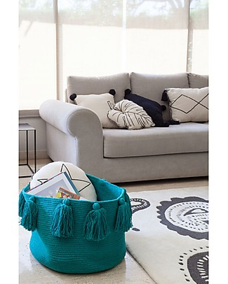Lorena Canals Basket with Tassels, Petroleum - Handmade and washable Toy Storage Boxes