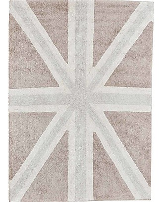 Lorena Canals Big Machine Washable Union Jack Rug, Grey -  100% Cotton (140 cm x 200cm) Carpets