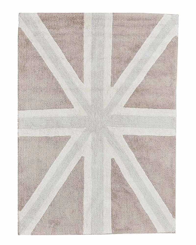 Lorena Cs Machine Washable Union Jack Rug Grey 100 Cotton 140