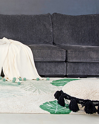 Lorena Canals Circle Machine Washable Cushion, Natural/Black - 48 cm diameter Cushions