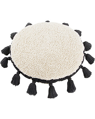 Lorena Canals Circle Machine Washable Cushion, Natural/Black - 48 cm diameter Cushions