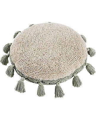 Lorena Canals Circle Machine Washable Cushion, Natural/Green - 48 cm diameter Cushions