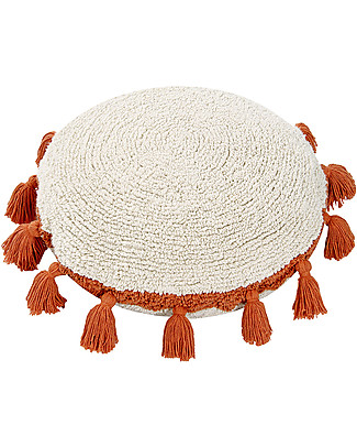 Lorena Canals Circle Machine Washable Cushion, Natural/Terracota - 48 cm diameter Cushions