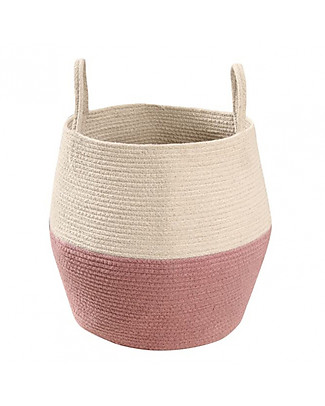 Lorena Canals Cotton Basket Zoco, Ash Rose and Natural - Hand-made (30 x 35 cm) Toy Storage Boxes
