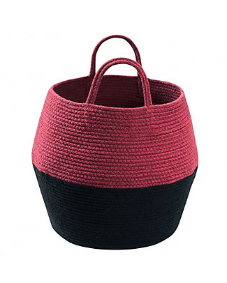 Lorena Canals Cotton Basket Zoco, Black and Aubergine - Hand-made (30 x 35 cm) Toy Storage Boxes