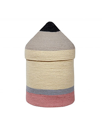 Lorena Canals Cotton Pencil Basket with Lid, Large (25 x 45 cm) Toy Storage Boxes