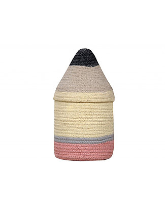 Lorena Canals Cotton Pencil Basket with Lid, Small (13 x 30 cm) Toy Storage Boxes