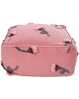 Lorena Canals Cotton Pouffe English Garden, Ash Rose - 54x54x27 cm Cushions