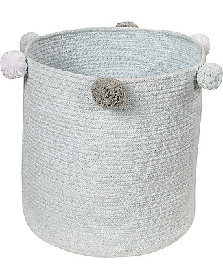 Lorena Canals Cotton Rope bubbly Basket, Blue - Hand-made and machine washable! Toy Storage Boxes