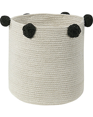 Lorena Canals Cotton Rope bubbly Basket, Natural/Black - Hand-made and machine washable Toy Storage Boxes