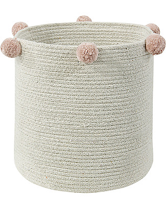 Lorena Canals Cotton Rope bubbly Basket, Natural/Nude - Hand-made and machine washable Toy Storage Boxes