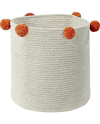 Lorena Canals Cotton Rope bubbly Basket, Natural/Terracota - Hand-made and machine washable Toy Storage Boxes