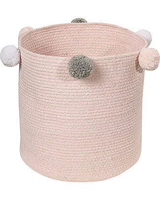 Lorena Canals Cotton Rope bubbly Basket, Pink - Hand-made and machine washable! Toy Storage Boxes