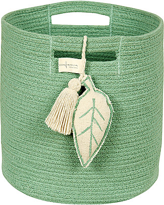 Lorena Canals Cotton Rope Leaf Basket, Green - Hand-made and machine washable Toy Storage Boxes