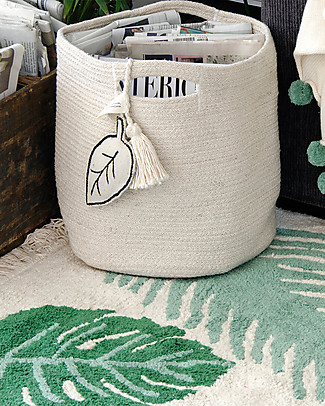Lorena Canals Cotton Rope Leaf Basket, Natural - Hand-made and machine washable Toy Storage Boxes