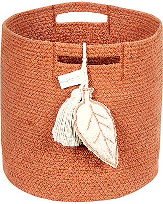 Lorena Canals Cotton Rope Leaf Basket, Terracota - Hand-made and machine washable Toy Storage Boxes