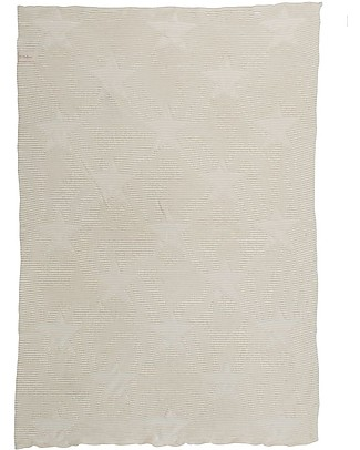 Lorena Canals Knitted Baby Blanket Hippy Stars, Natural - 100% Cotton (90 x 120 cm) Blankets