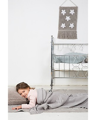Lorena Canals Knitted Baby Blanket Hippy Stars, Pearl Grey - 100% Cotton (90 x 120 cm) Blankets